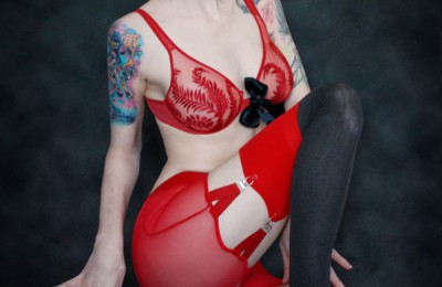 GothicSluts: Goth Babe Razor Candi in Hot Red Lingerie