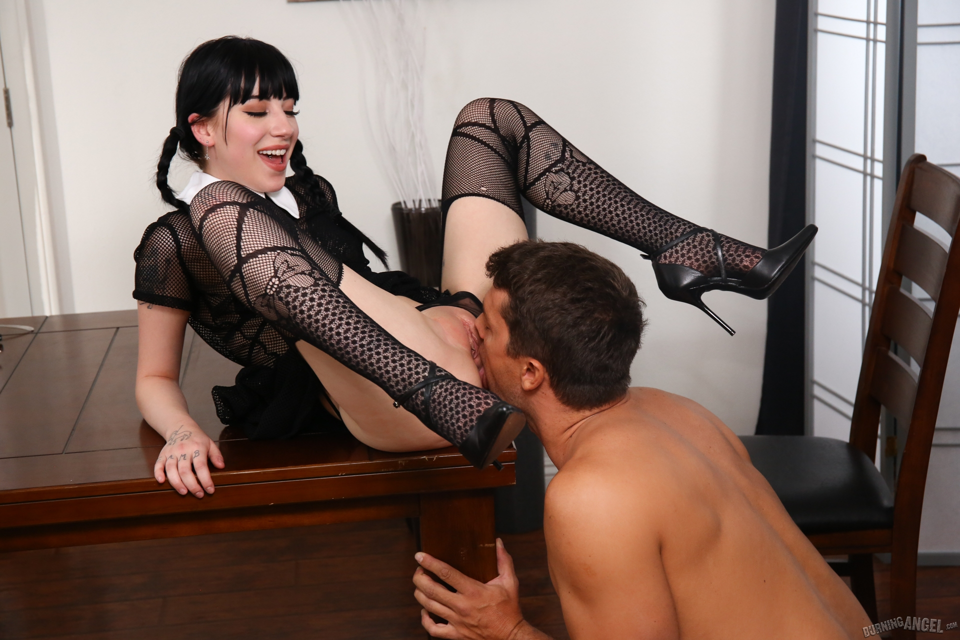 BurningAngel: Charlotte Sartre As Wednesday Addams Gets Pounded At The Dinner Table